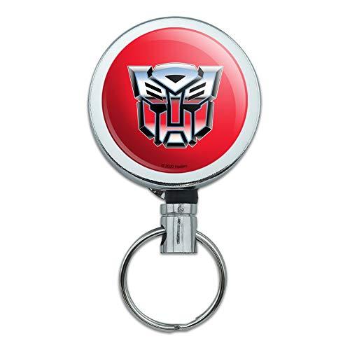 Transformers Autobot Symbol Retro Heavy Duty Metal Retractable Reel ID Badge Key Card Tag Holder with Belt Clip