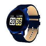 SHRAY Montre Intelligente Bluetooth avec Bracelet en Cuir pour écran Android et iOS, Prise en Charge de la caméra à Distance/Moniteur de fréquence Cardiaque/tensiomètre Bleu