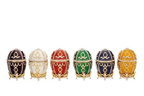 Porzellandosen Eidosensatz 6-TLG. Groß Rot, Weiß, Gelb, Grün, Blau, Lila mit Emaille H 8,0cm D 5,0cm inkl. Fuß Zinkdruckguss/vergoldet