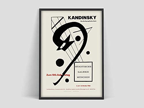Póster de Wassily Kandinsky, póster de exposición de arte, boceto de arte en blanco y negro de Kandinsky, pintura familiar en lienzo sin marco Q 20x30cm