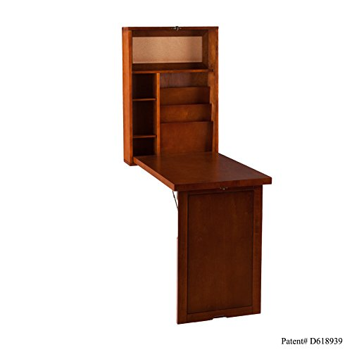 SEI Furniture Fold Out Convertible Desk 22' Wide - Wall Hanging Space Saving - Walnut Finish