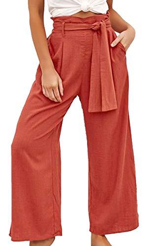 ECOWISH Damen Hosen Lang Weites Bein Sommerhose Gummibund Freizeithose mit Taschen und Gürtel Orange M