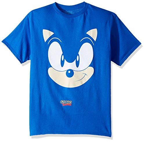 SEGA Boys' Little Sonic The Hedgehog Big Face Short Sleeve Tshirt, Royal, 5/6