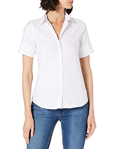 GANT Stretch Oxford Solid SS Shirt Camicia da Donna, Bianco, 46