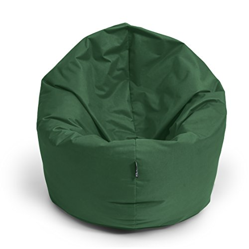 BuBiBag Sitzsack 2-in-1 Funktionen mit Füllung Sitzkissen Bodenkissen Kissen Sessel BeanBag (100 cm Durchmesser, dunkelgrün)