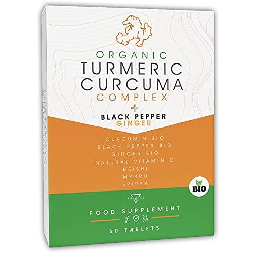 CURCUMA BIO® | Curcuma Capsule | Curcuma Piperina Zenzero | 7 ingredienti attivi tra cui: Curcumina Bio, Piperina Bio, Zenzero Bio, Vitamina C naturale, Reishi, Mirra e Spirea | 60 Compresse