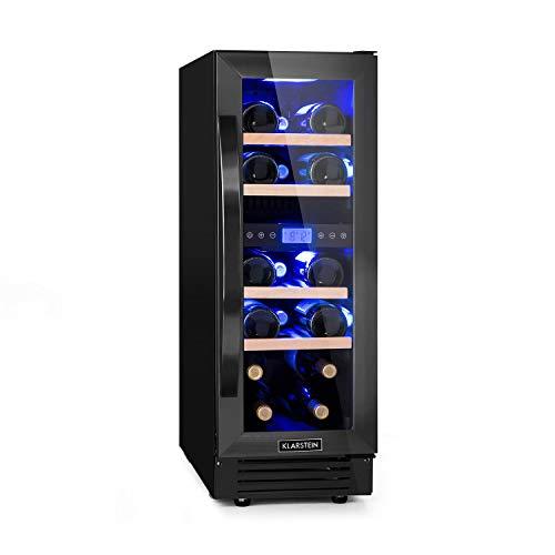 Klarstein Vinovilla Onyx 17 nevera para vinos con puerta acristalada - 53 litros, 17 botellas de vino, 30 cm de ancho, iluminación interior, 4 baldas, 2 zonas de frío, antivibración, táctil, negro