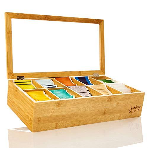 bambuswaldCaja de bambú para bolsitas de té  Cajita con 10 compartimentos   Dispensador de té...