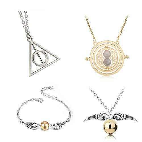 Friendship Necklace set -4 Stück Cosplay Hermine Anhänger Halsketten Heiligtümern des Todes Golden Snitch Time Turner Kette Halsketten für inspirierte Fans Geschenke Sammlungen (4PCS)