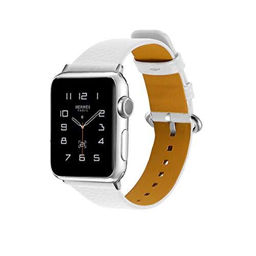 Luckhome Unisex Armbanduhr Digitale Sportuhr Damen Herren Digital Sport Uhr,Für Apple Watch Serie 1/2/3/4 38 / 40mm Deluxe Leder Denim Armband Uhrenarmband(Weiß)