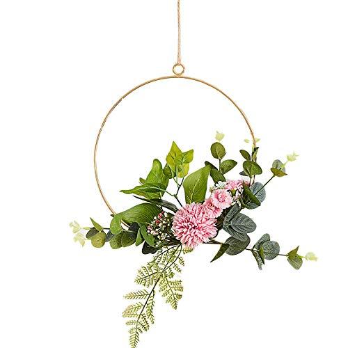 JUNGEN Hängende Metallring Künstliche Blume Runder Wandkranz für Geburtstag Hochzeit Party Wohnaccessoires Deko Size 20cm (Rosa Hortensie)