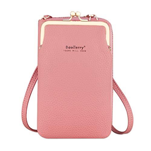 Bolso de teléfono móvil para mujer Monedero de cartera cruzada Mini bolso de teléfono celular cruzado de cuero ligero con ranuras para tarjeta de correa per Samsung Note 20 Iphone 11 Pro(Rosa oscuro)