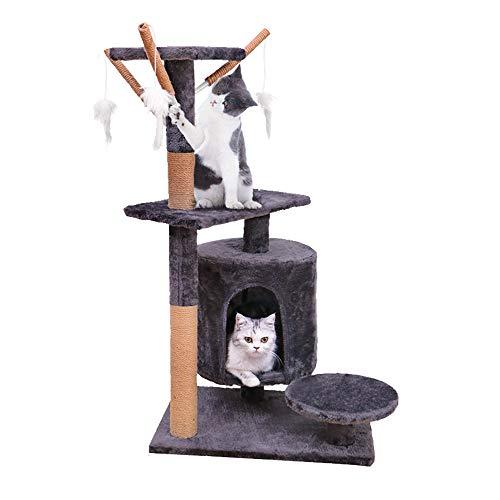 Famgizmo Árbol para Gatos con Rascador de Sisal, 90cm Torre para Gatos con Nido, Multi Nivel Centro de Actividad para Gatitos con Juguetes Colgantes, Muebles para Gatos, Torre de Escalada,Azul Oscuro