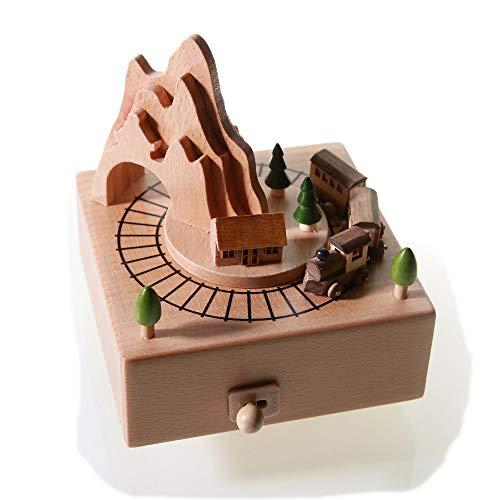 DKEE decoración Tren Pequeño Caja De Música De Madera Mecanismo De Cuerda Mecanismo Haya Niños Artesanía Regalos Creativos Regalo De Cumpleaños Música Pura