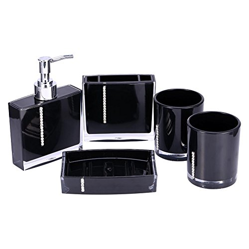EBTOOLS 5pcs Acrylic Bathroom Accessories Set Luxury Bath Vanity Set with Cup Bottle Toothbrush Holder Soap Dish Liquid Soap Lotion Pump Dispenser Home Fashion (Black)