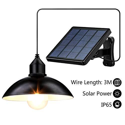 ENCOFT Solarleuchte für Außen Solarlampe Aussen mit Birne IP65 Wasserdichte Solar Hängelampen Solar Pendelleuchte für Garten Bauernhaus Camping mit 3M Kabel