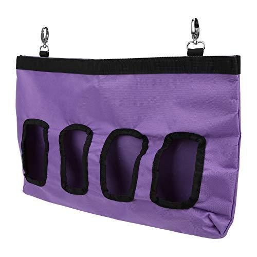 BTER Pig-Pet Hay Feeder, mit Aufkleber Oxford Cloth 4 Holes Feeding Hay, für Chinchillas Rabbit(Purple)