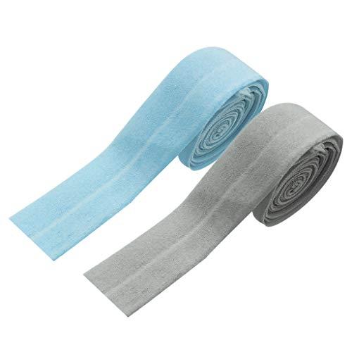 chiwanji 2X Grey Flat Bias Elastic Cord Geflochten Zum Nähen von Kleidung Tagesdecke Manschette