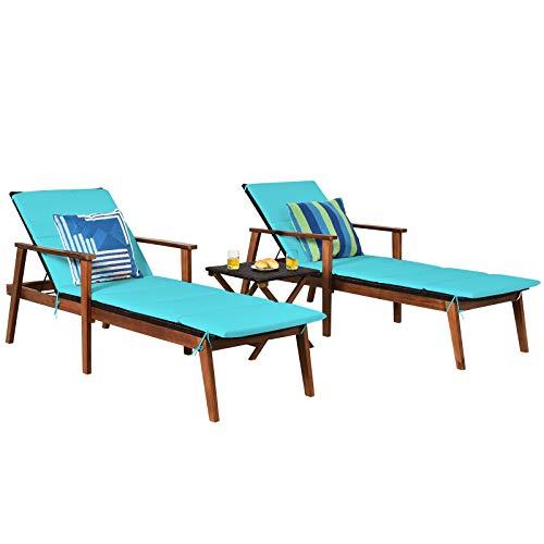 Tangkula Patio Chaise Lounge Sets, Outdoor Acacia...