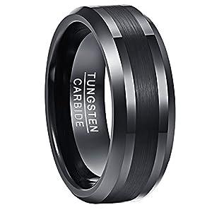 NUNCAD Ring Schwarz Herren/Damen 8mm Matt Gebürstet aus Wolfram, Fashion Ring Unisex für Lifestyle, Geschenk und Alltag, Größe 69