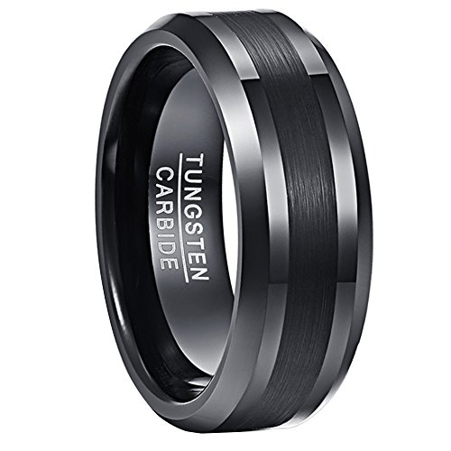 NUNCAD Ring Herren Damen/schwarz 8mm matt gebürstet, Unisex Fashion Ring aus Wolfram für Lifestyle, Geschenk und Alltag, Größe 54 (14)