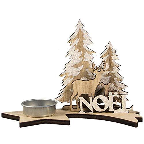 Kerzenleuchter Teelichthalter Weihnachten DIY Xmas Ornaments Geschenkartikel Kerzenhalter aus Holz Weihnachtsmann Teelicht Kerzenhalter aus Holz für Weihnachten,Hochzeiten,Inneneinrichtungen,Partys(B)