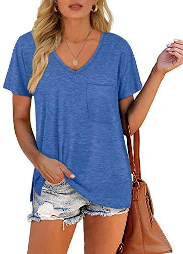 Dofaoo Summer Shirts for Women V Neck Short Sleeve Pocket T Shirts Blue S