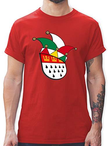 Karneval & Fasching - Köln Wappen Narrenkappe - XL - Rot - köln Tshirt - L190 - Tshirt Herren und Männer T-Shirts
