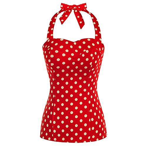 Camisetas para Mujer sin Mangas Botón Sexy Tanque Tops Huecas Elegantes Chaleco Verano Blusa Casuales Rojo S