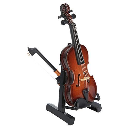 Mini Modelo de violín, 1.5 * 1.2 * 3.4in Modelo de violín Instrumento Musical en Miniatura de Juguete con Soporte Decoraciones artesanales