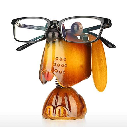 Tooarts Hündchen Tier Stehen Brillenhalter | Eisen Skulptur Handwerk Handwerk Sonnenbrille Display Wohnkultur | Metall Tier Brillenablage | Gold Eisen 10 x 8 x 11 cm