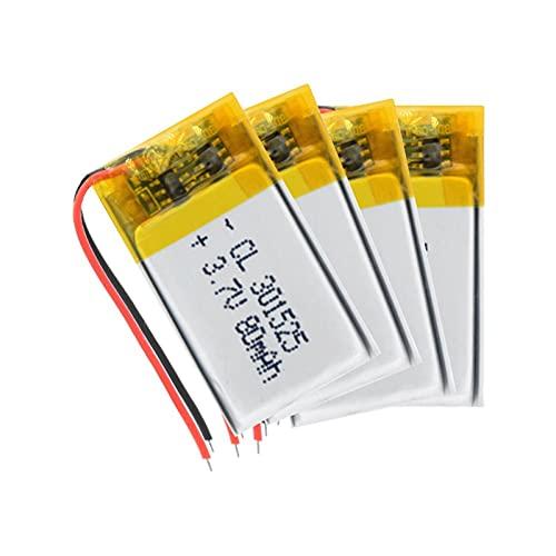zhoudashu Batería De PolíMero De Litio De 3.7v 80mah 301525 Lipo, Recargable para Pulsera Inteligente Selfie Stick Mp3 Mp4 4Pcs