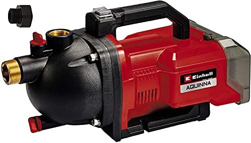 Einhell AQUINNA Power X-Change, Bomba de jardín a batería (2 x 18 V, interruptor de 2 escalones, tornillo de entrada y salida de agua, protección térmica) + Kit con cargador y dos baterías de 4.0 Ah