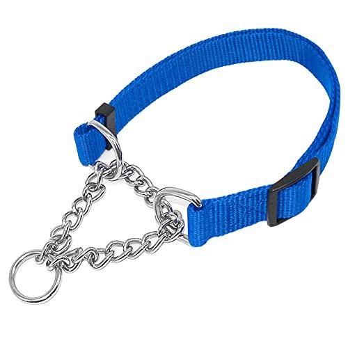 YSSDZYYMXD 1.0'Ancho Ancho Nylon Martingale Cuello Perro Cadena De Cadena Perros Cuello Perro 16-29' Ajustable,Azul,40~74cm