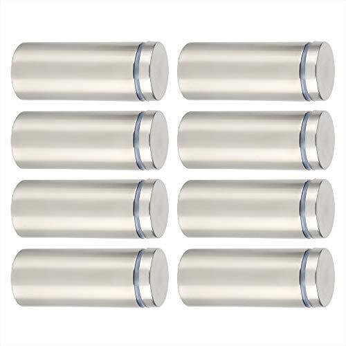 SAYAYO Glas-Abstandshalter für Werbung, Nägel, Schild-Halterungen, 25 mm x 60 mm, Edelstahl gebürstet, 8 Stück, EQK25X60-8P