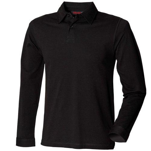 Skinni Fit - Polo extensible à manches longues - Homme (2XL) (Noir)