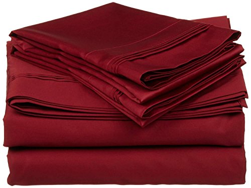 """Xtream Fabric 6 Piece Bed Sheet Set - 600 Thread Count Long Staple Egyptian Cotton, Ultra Soft & Colling Sheets fits Upto 15"""" deep Pocket Mattress Full, Burgundy Solid"""