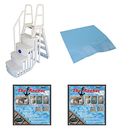 Main Access 200100T Above Ground Pool Ladder with Mat Pad and 2 Sand Weights