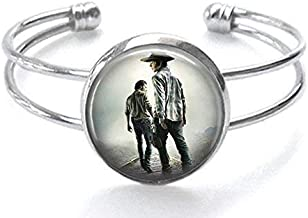 The Walking Dead Carl and Rick Grimes Silver Plated Cuff Bracelet
