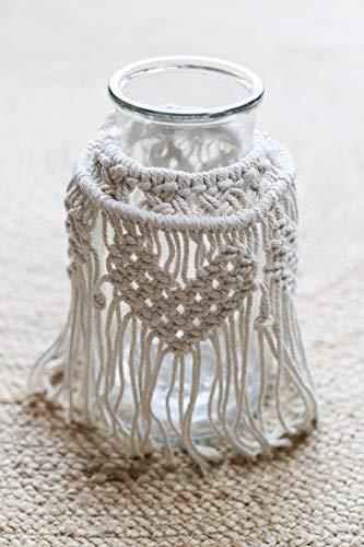 Kerzenglas, Windlicht mit Makramee, Boho Design, Höhe 26 cm, Glasdurchmesser 14 cm