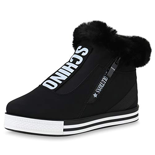 SCARPE VITA Damen Plateau Sneaker Warm Gefütterte Winter Turnschuhe Kunstfell 170598 Schwarz Weiss Gefüttert 38