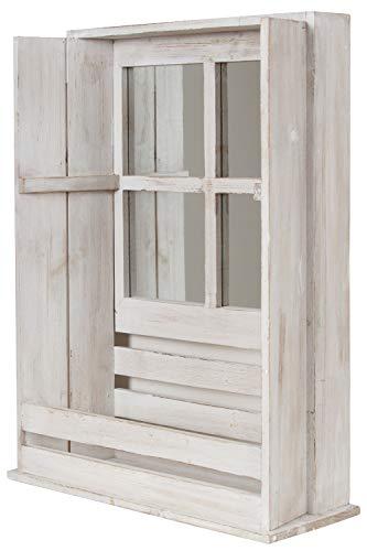 My Flair 161049 Wandhängeschrank Spiegelschrank Walon mit Ablagefach und Spiegel im Shabbi Chic Design ca. 44 x 17 x 59 cm (BxTxH)