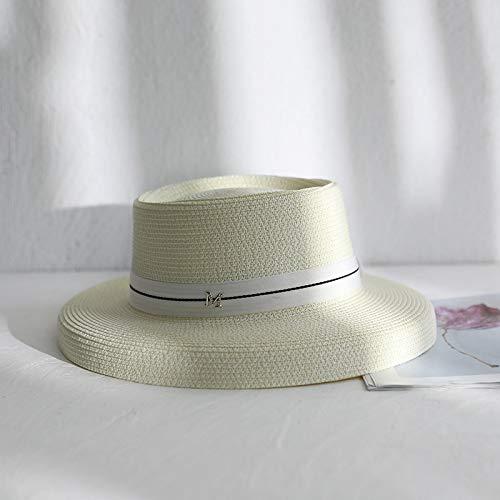 mlpnko Lampenschirm Hut Vintage Band Strohhut England Strandurlaub Sonnenblende Falten Milch Weiß M (56-58 cm)