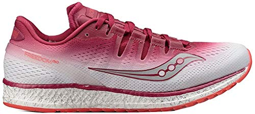Saucony Womens Freedom ISO Running Sneaker Shoes, Berry/White, US 10 6.5