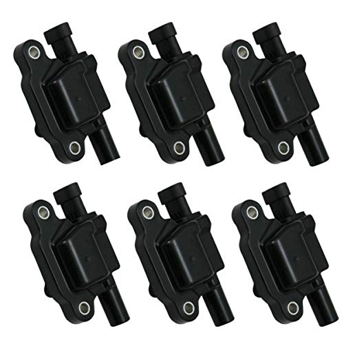 6 Piece Engine Ignition Coil Kit Set Square Style Compatible with Silverado Sierra 1500 4.3L