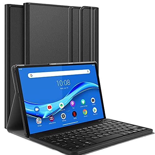 IVSOTEC Custodia con Tastiera per Lenovo M10 FHD Plus Tablet TB-X606 10.3 Pollici [Layout Italiano], Slim Cover con Rimovibile Magnetica Wireless Bluetooth Tastiera, Nero