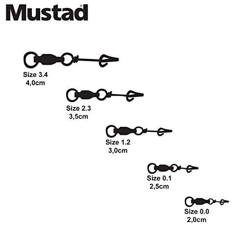 Mustad Fastach-Clip mit Kugellager, Drehgelenk, Angelgerät, 12 Stück, schwarz, Größe 1,2