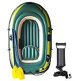 ZYXUNQL - Barco hinchable para 2/3 personas, kayak, de goma, para adultos, pesca, surf, casual, con doble pala, Unisex adulto, Verde militar (200 x 120 x 35 cm), Talla única