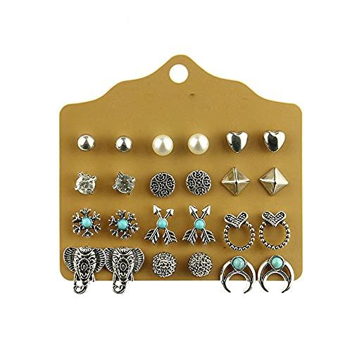 Pendientes Para Mujeres Pendientes Colgantesamor Diamond Pendientes Flores Deja Juegos De Taladro De Agua Personalidad Moda Oreja-Combinación -9