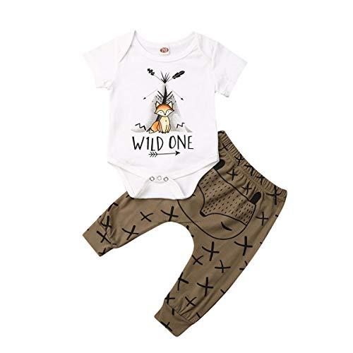 Newborn Baby Boy Girl Clothes Short Sleeve Fox Print Romper Tops Wild One T-Shirt Bodysuit +Pant Leggings Outfits Set (Coffee, 3-6 M)
